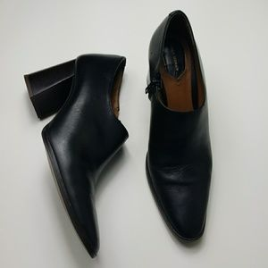 ZARA black leather bootie with flared heels